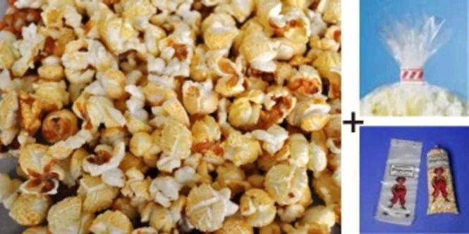 Fertiges Popcorn süß zum selbst Abfüllen mit Tüten+Klipse im Karton